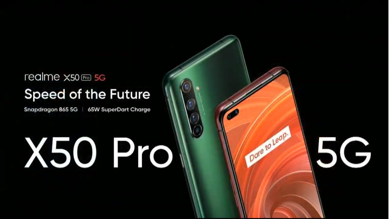 照片中提到了realme x50 Cro 5G、Speed of the Future、Snapdragon 865 5G I 65W SuperDart Charge,跟迪亞有關,包含了維文特、手機、功能手機、移動電話、蜂窩網絡