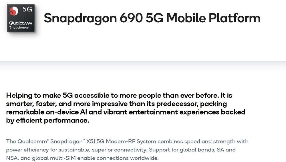 照片中提到了5G、Snapdragon 690 5G Mobile Platform、Qualcomm,包含了文獻、文獻、角度、線、組織