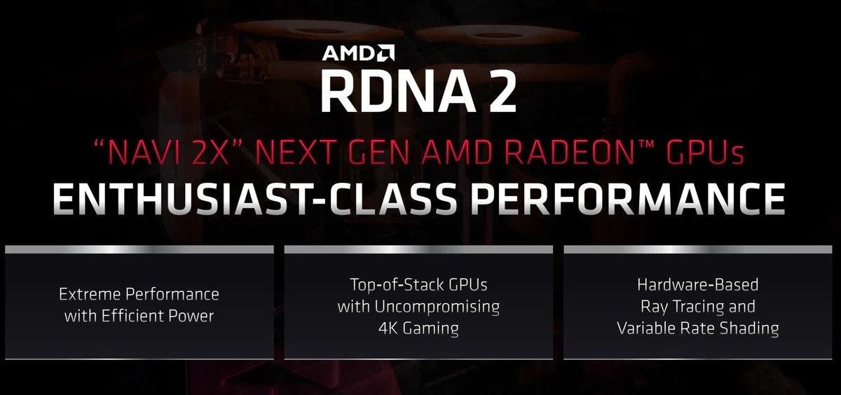 """照片中提到了AMDA、RDNA 2、""""NAVI 2X"""" NEXT GEN AMD RADEON™ GPUS,包含了AMD公司、Radeon、Advanced Micro Devices公司、脫氧核糖核酸、美國音樂戲劇學院"""