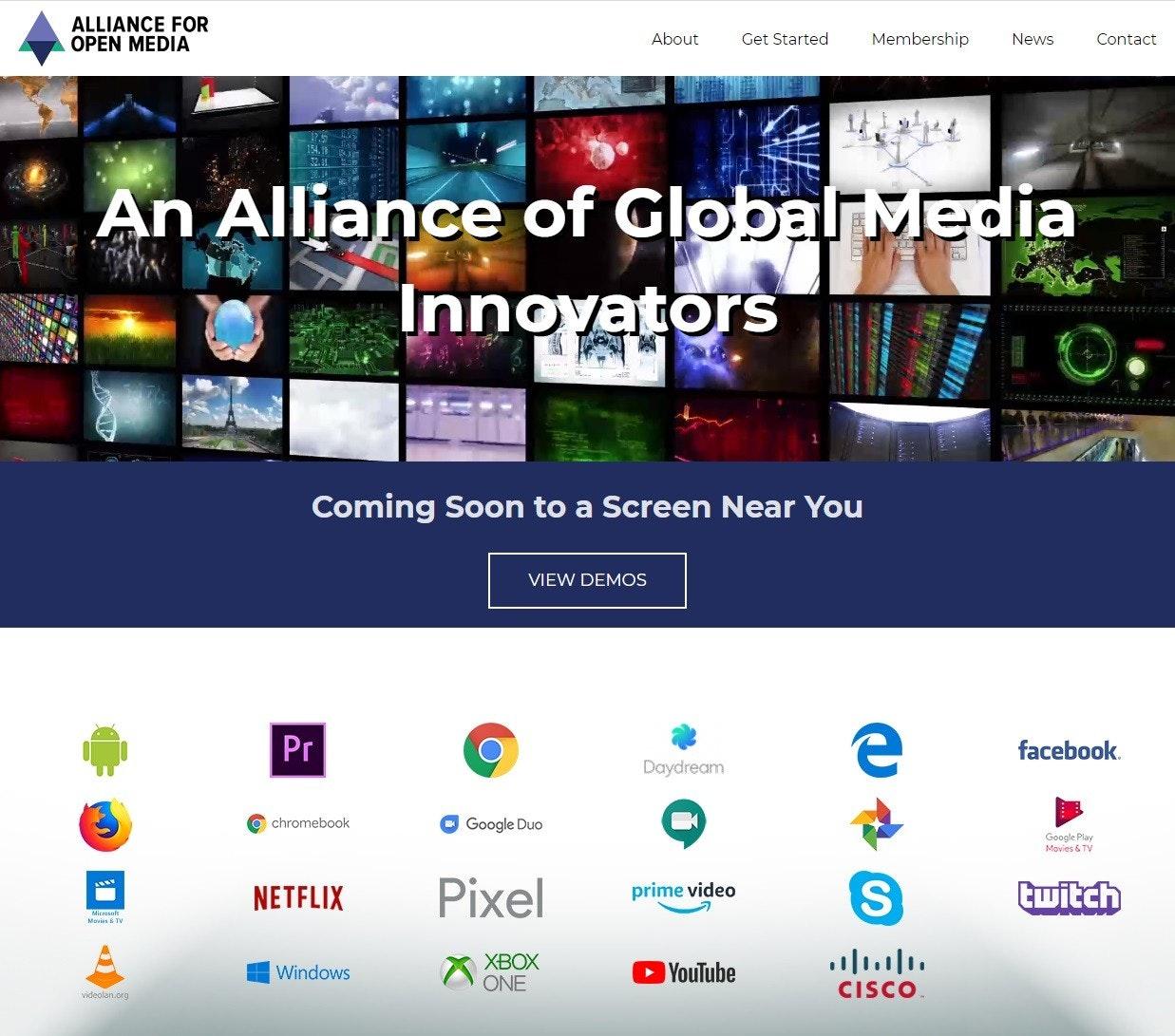 照片中提到了ALLIANCE FOR、OPEN MEDIA、About,跟思科系統、首映有關,包含了twitch.tv、計算機程序、展示廣告、在線廣告、商標