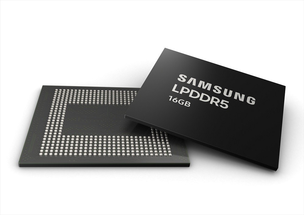 照片中提到了SAMSUNG、LPDDR5、16GB,跟蘋果公司。、三星集團有關,包含了三星12GB lpddr4x、動態隨機存取存儲器、低功耗DDR、三星、三星電子