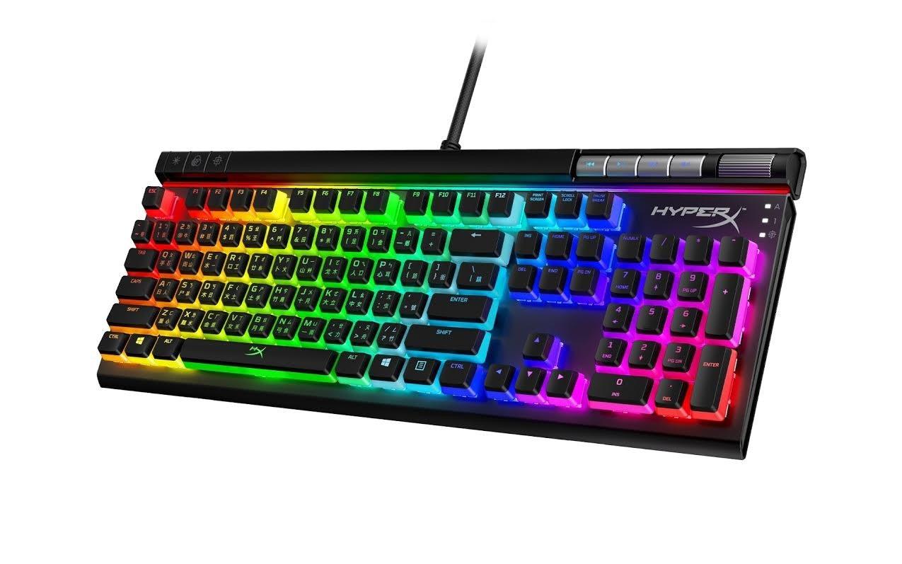 照片中提到了米/6、SCROLL、PRNT,包含了赫柏合金精英2、計算機鍵盤、HyperX Alloy Elite 2機械遊戲鍵盤、HyperX合金精英、HyperX合金的起源