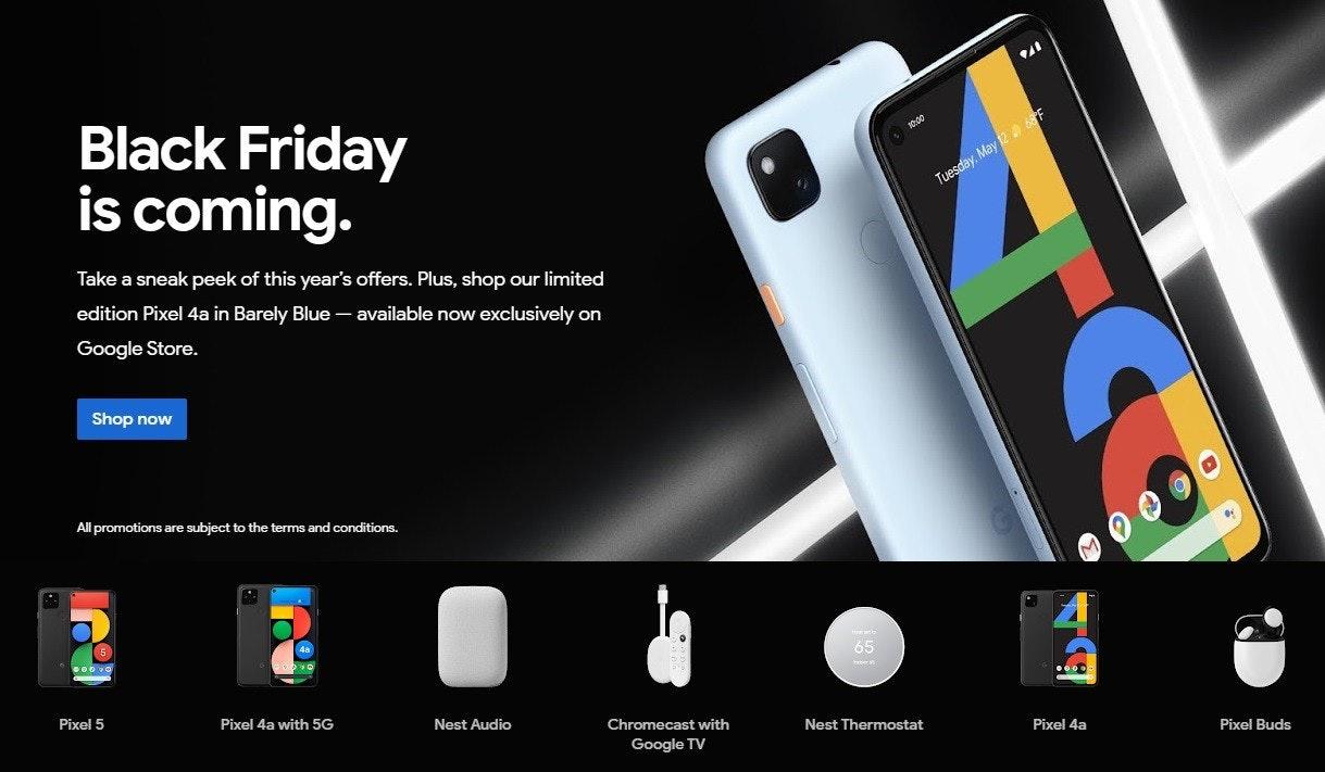 Google 官方商店預告將在 11 月 27 日舉辦黑色星期五優惠,台灣公布陣容仍在出清庫存、北美新增藍色 Pixel 4a