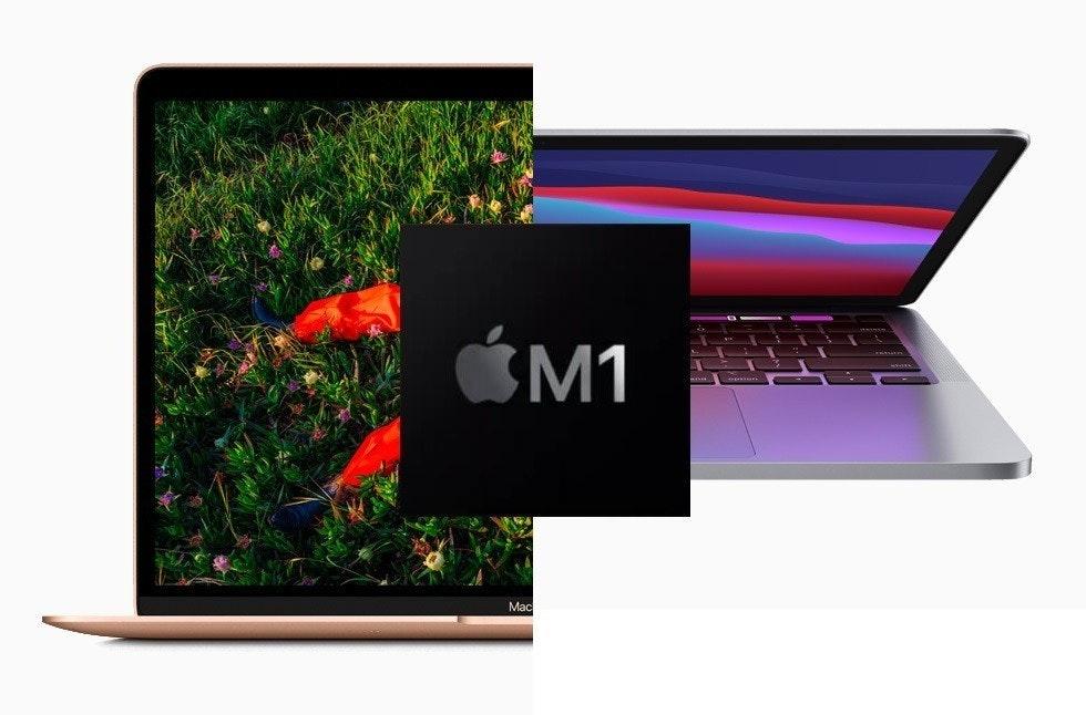 照片中提到了ĆM1、Mac,跟蘋果公司。有關,包含了MacBook Air M1 2020金、蘋果MacBook Air(13英寸,M1,2020年)、蘋果MacBook Pro、蘋果M1、蘋果