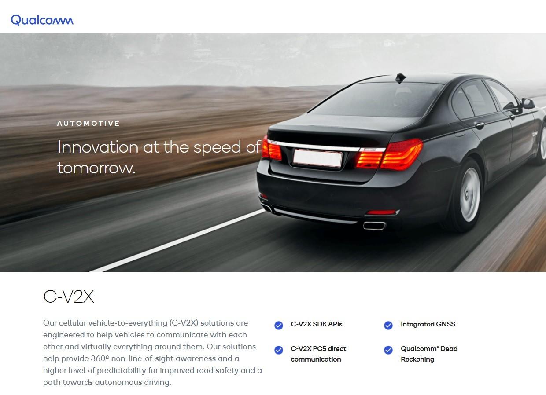 照片中提到了Qualcomm、AUTOMOTIVE、Innovation at the speed of,跟高通公司有關,包含了個人豪華車、汽車、豪華車、轎車、特斯拉