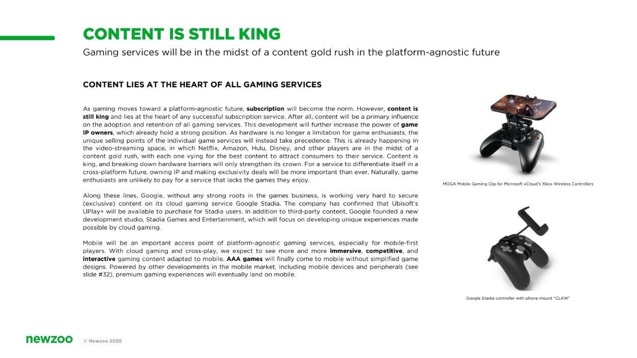 照片中提到了CONTENT IS STILL KING、Gaming services will be in the midst of a content gold rush in the platform-agnostic future、CONTENT LIES AT THE HEART OF ALL GAMING SERVICES,包含了網站、牌、產品設計、字形、產品