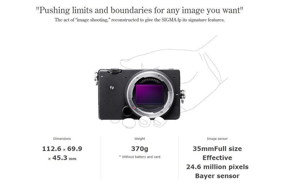 """照片中提到了""""Pushing limits and boundaries for any image you want""""、The act of """"image shooting,"""" reconstructed to give the SIGMA fp its signature features.、..**...,包含了適馬fp、適馬fp、無反光鏡可換鏡頭相機、全畫幅數碼單反、適馬45mm f / 2.8 DG DN當代鏡頭"""