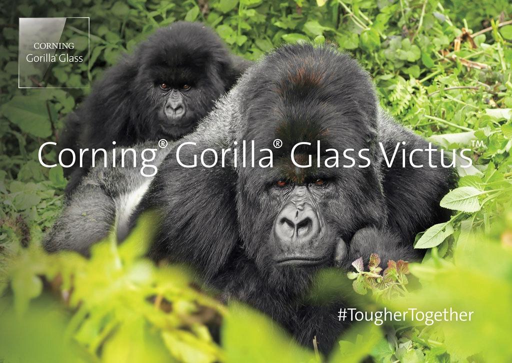照片中提到了CORNING、Gorilla Glass、Corning Gorilla Glass Victus,包含了ug遊戲公園、布恩迪難以穿越的國家公園、維龍加山脈、麥加大猩猩國家公園、塔蘭吉雷國家公園