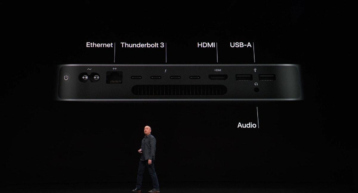 照片中提到了Ethernet、Thunderbolt 3、HDMI,包含了Mac mini 2018和2014、MacBook Air、電腦、蘋果、Apple Mac mini(2018)
