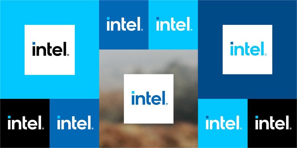 照片中提到了intel. intel.、intel.、intel.,跟Intellia治療學、Inatel有關,包含了英特爾新徽標、商標、英特爾、圖形、字形