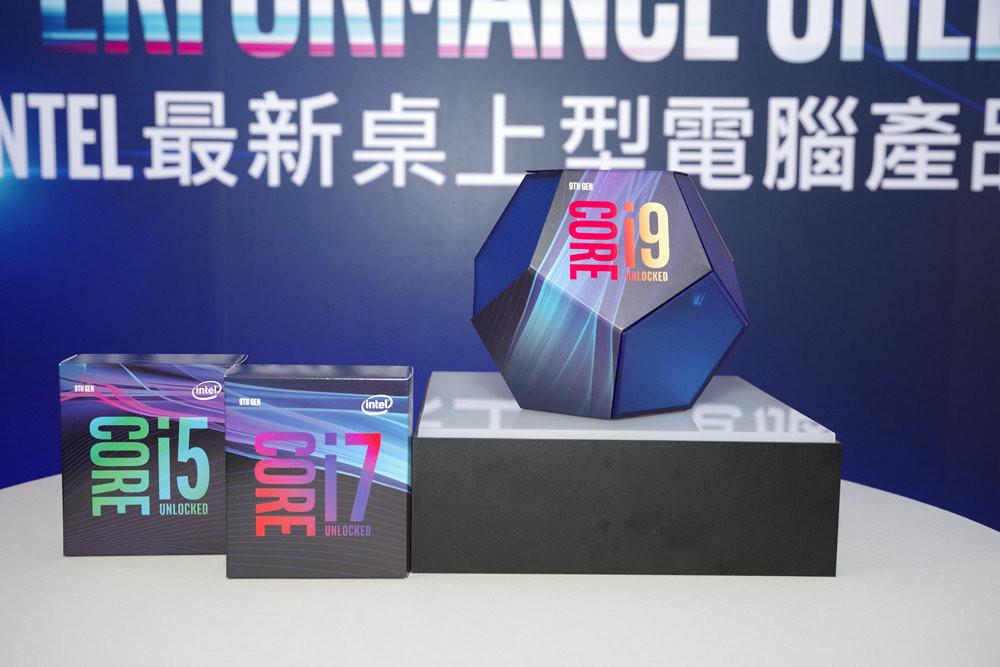 照片中提到了NTEL最新桌上型電腦產品、STN GEN、LOCKED,包含了鈷藍色、英特爾酷睿i9、英特爾、中央處理器、加速處理單元