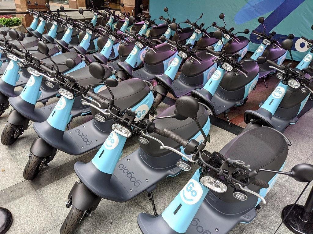 照片中提到了Go、Go、60,跟五郎郎、主動有關,包含了摩托車、GoShare、電動摩托車和踏板車、汽車