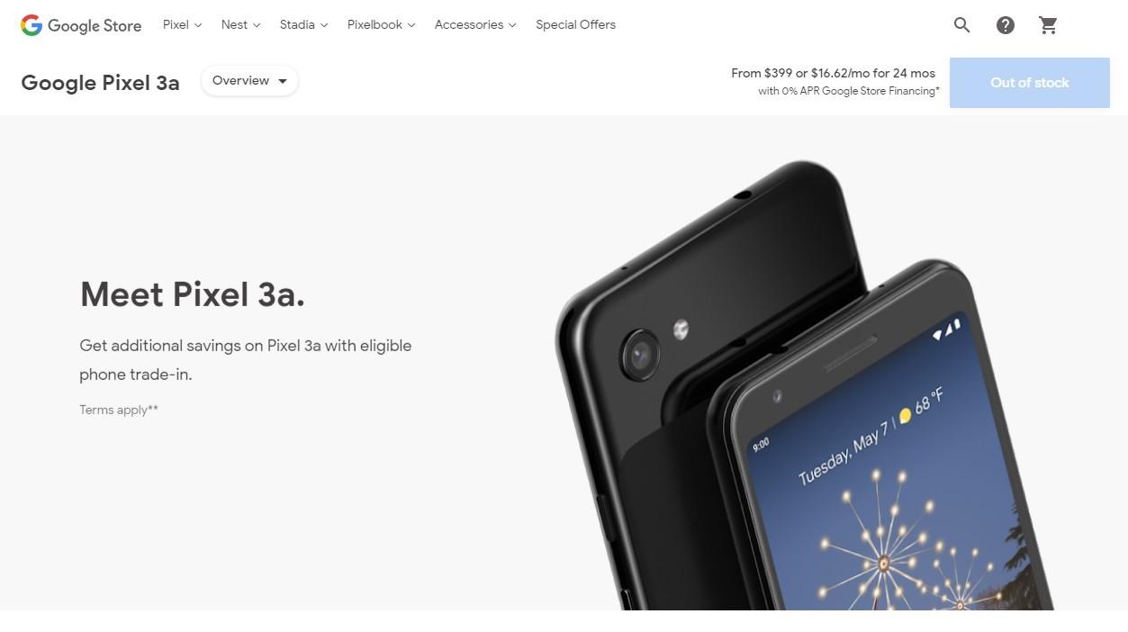 照片中提到了Google Store、Pixel v、Nest v,包含了Google Pixel 3a、Google Pixel 3a、Google Pixel 3a XL、Google Pixel 3 XL、谷歌