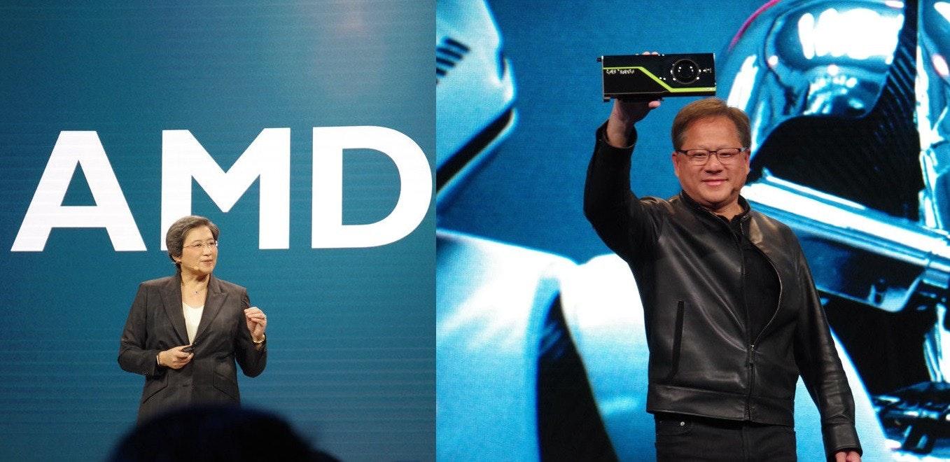 照片中提到了AMD,跟Advanced Micro Devices公司有關,包含了電視節目、黃健森、NVIDIA Quadro RTX 6000、英偉達、圖靈