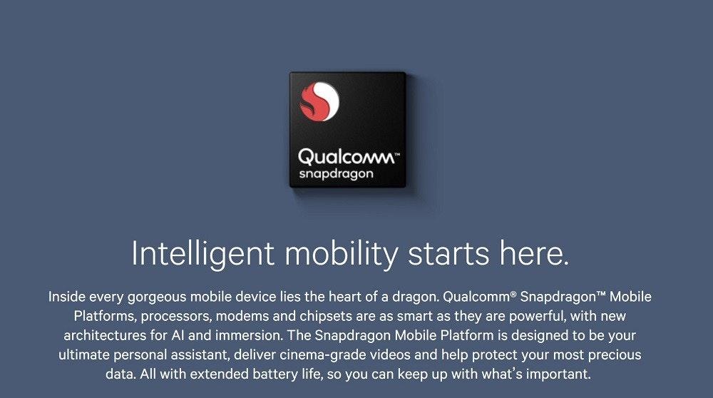 """照片中提到了Qualcomm""""、snapdragon、Intelligent mobility starts here.,跟高通公司有關,包含了多媒體、高通金魚草、2018世界移動大會、三星Galaxy S9"""