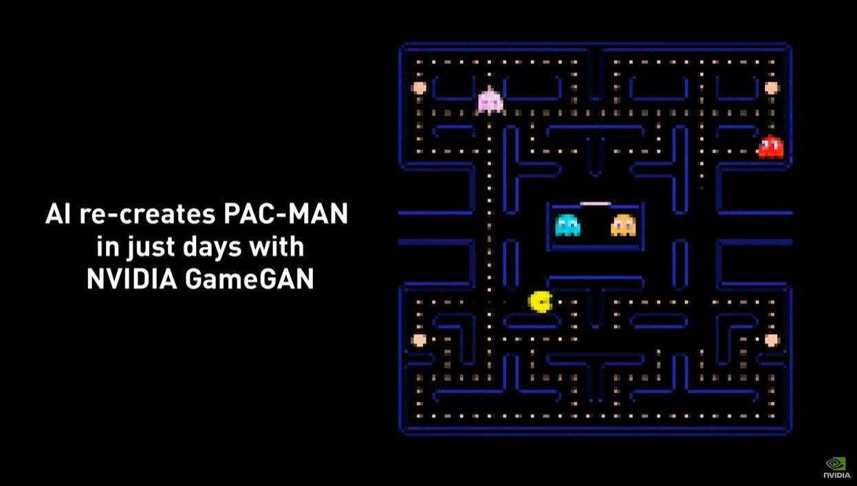照片中提到了Al re-creates PAC-MAN、in just days with、NVIDIA GameGAN,包含了吃豆人、吃豆人、電子產品、字形、紫色