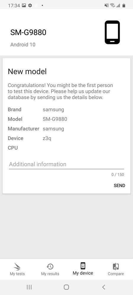 照片中提到了17:34 E ¢、SM-G9880、Android 10,跟权威技术有关,包含了屏幕截图、屏幕截图、角度、黑白M、线