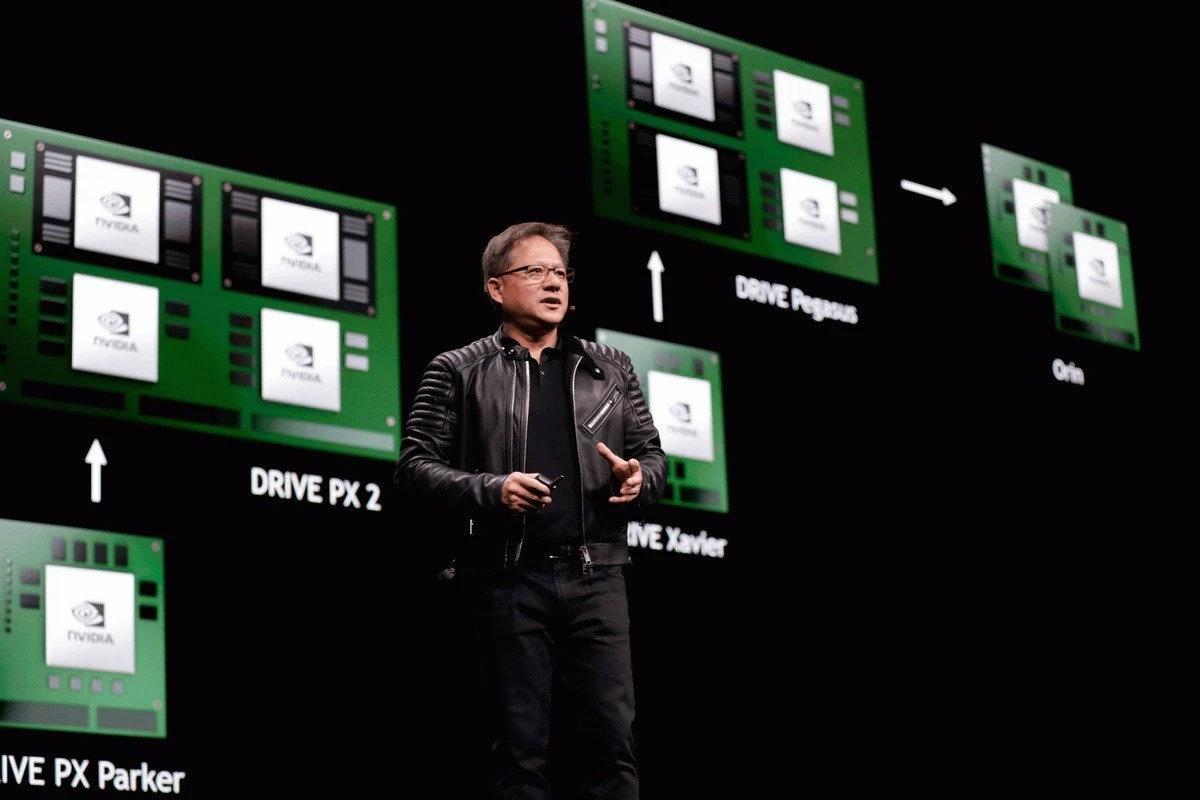 照片中提到了DRIVE Pogous、↑、DRIVE PX 2,包含了英偉達、黃健森、英偉達、圖形處理單元、英偉達Quadro
