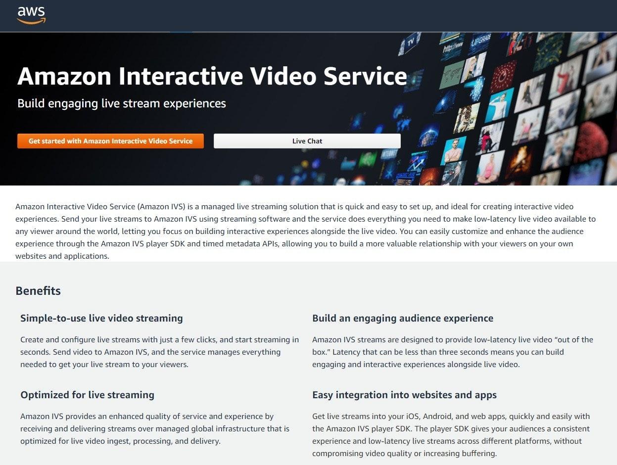 照片中提到了aws、http://wPGRADE、Amazon Interactive Video Service,包含了安蒙迪、數碼展示廣告、在線廣告、網頁、牌