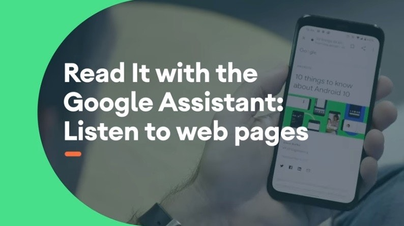 照片中提到了Go gle、Read It with the、Google Assistant:,包含了通訊、手機、移動電話、產品設計、產品