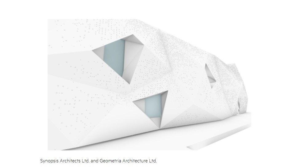 照片中提到了Synopsis Architects Ltd. and Geometria Architecture Ltd.,包含了三角形、馬德里、惠普企業、產品設計、芬蘭