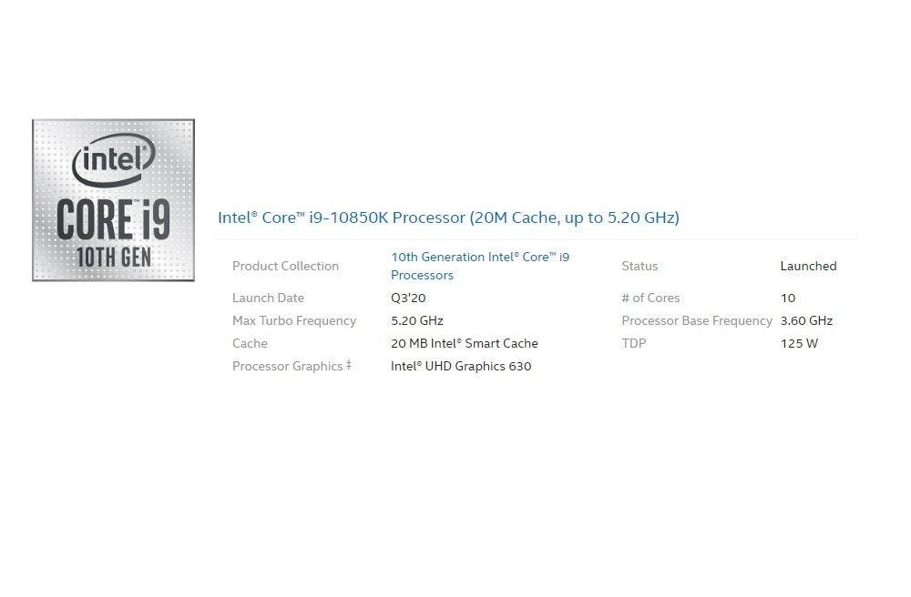 照片中提到了(intel)、CORE 19、Intel® Core™ 19-10850K Processor (20M Cache, up to 5.20 GHz),跟英特爾、英特爾有關,包含了英特爾、牌、產品設計、字形、儀表