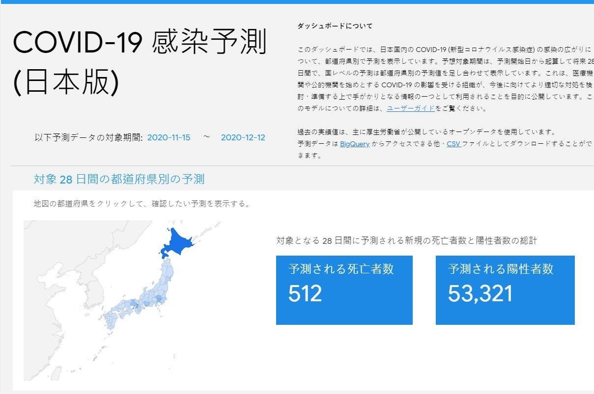 照片中提到了ダッシュボードについて、COVID-19 感染予測、(日本版),包含了日本、日本、冠狀病毒、美國、感染