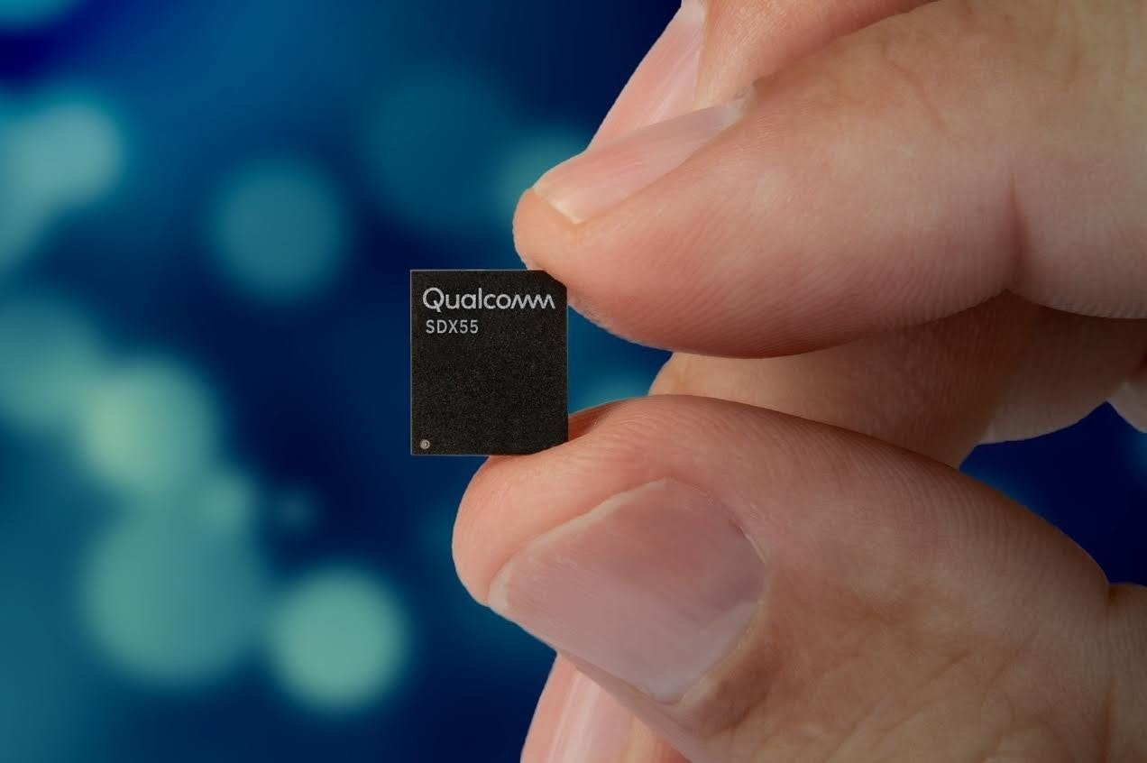 照片中提到了Qualcomm、SDX55,包含了高通5G調製解調器、高通公司、5G、調製解調器、高通金魚草