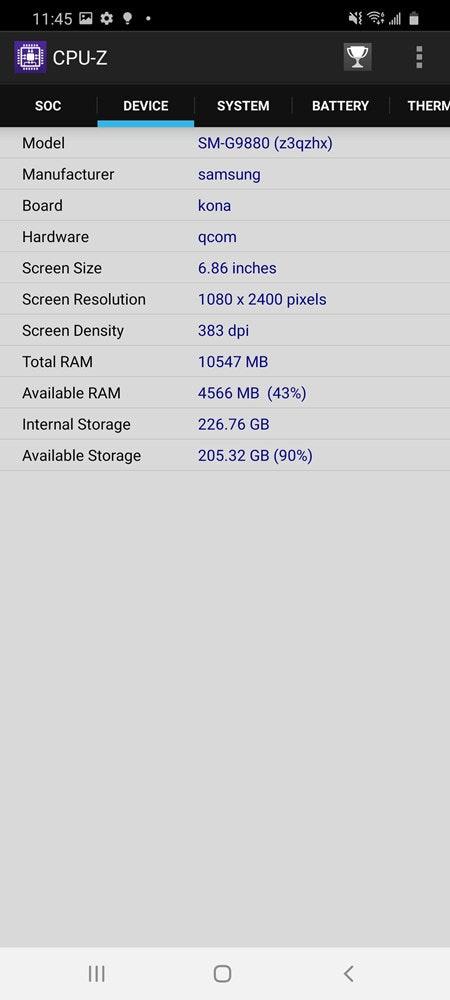照片中提到了A CPU-Z、SOc、DEVICE,包含了cpu z三星s9加、三星Galaxy S9、三星Galaxy A80、三星、三星Galaxy Note 10