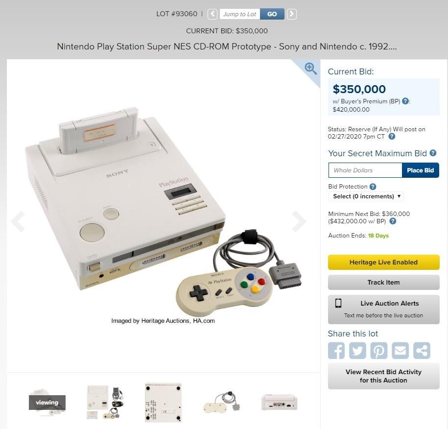 照片中提到了LOT #93060 < Jump to Lot、GO、CURRENT BID: $350,000,包含了任天堂遊戲機、超級任天堂娛樂系統、PlayStation VR、的PlayStation、超級NES CD-ROM