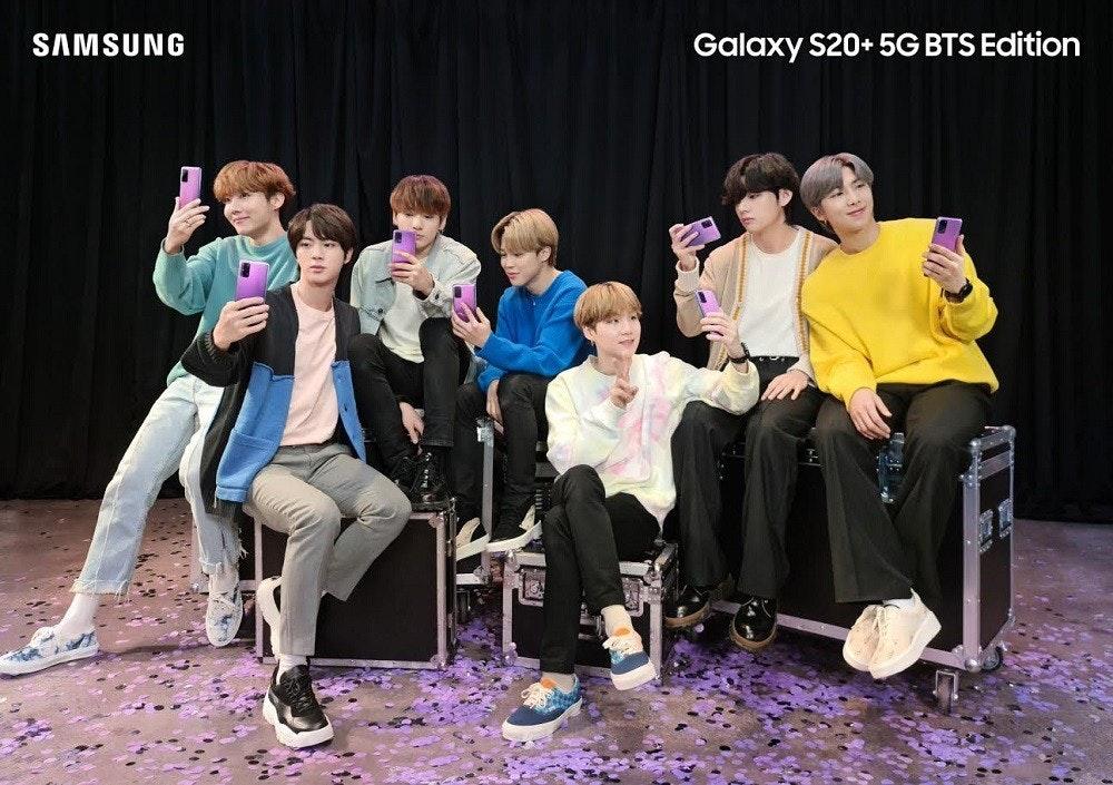 照片中提到了SAMSUNG、Galaxy S20+ 5G BTS Edition,包含了三星、三星Galaxy S20 +、三星、三星Galaxy S10、手機