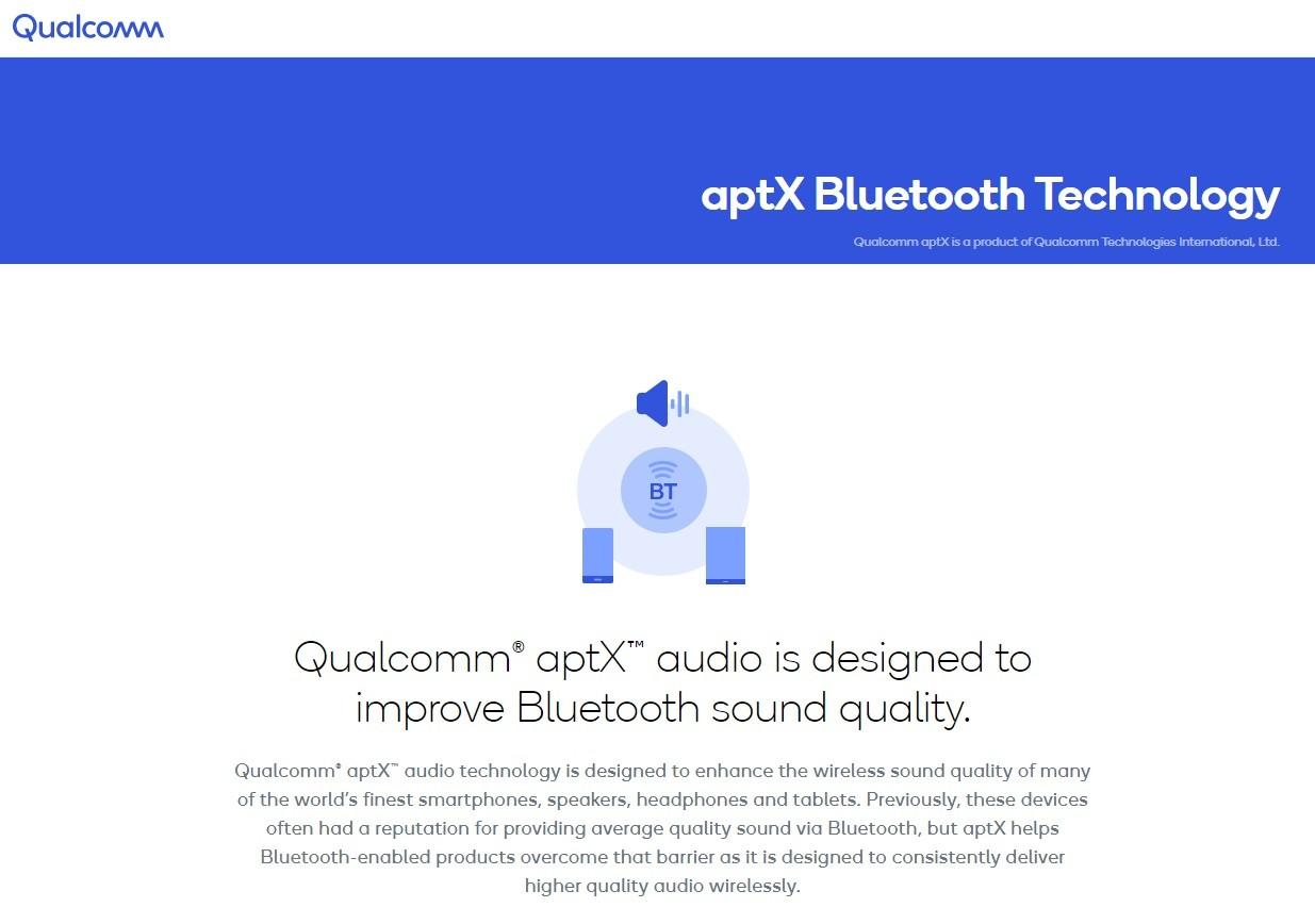 照片中提到了Qualcomm、aptX Bluetooth Technology、Qualcomm aptX is a product of Qualcomm Technologies International, Ltd.,包含了水、牌、商標、產品設計、產品
