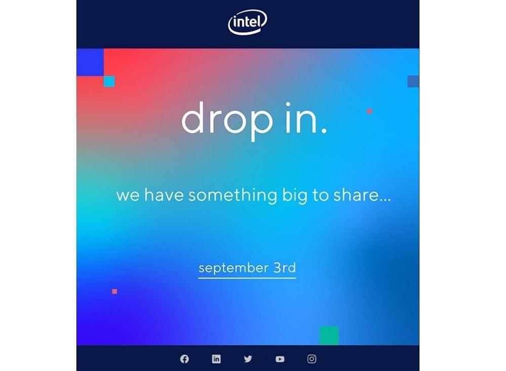 照片中提到了(intel)、drop in.、we have something big to share...,跟英特爾有關,包含了天空、牌、字形、產品、屏幕截圖