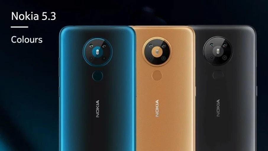 照片中提到了Nokia 5.3、Colours、NOKIA,包含了نک、諾基亞5.3、諾基亞3310(2017)、諾基亞5、諾基亞5310(2020)