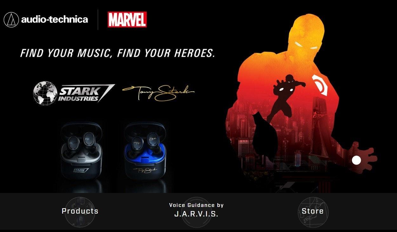 照片中提到了(A) audio-technica、MARVEL、FIND YOUR MUSIC, FIND YOUR HEROES.,跟漫威漫畫、國際論文有關,包含了鋼鐵俠2、平面設計、漫威英雄2016、產品設計、牌