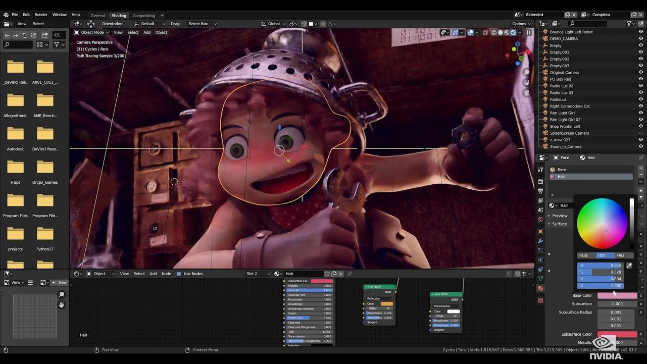 照片中提到了ZO File Edit Render、Window Help、O x Completo,跟英偉達有關,包含了視覺效果、冠狀病毒、電腦、右舷價值、軟件