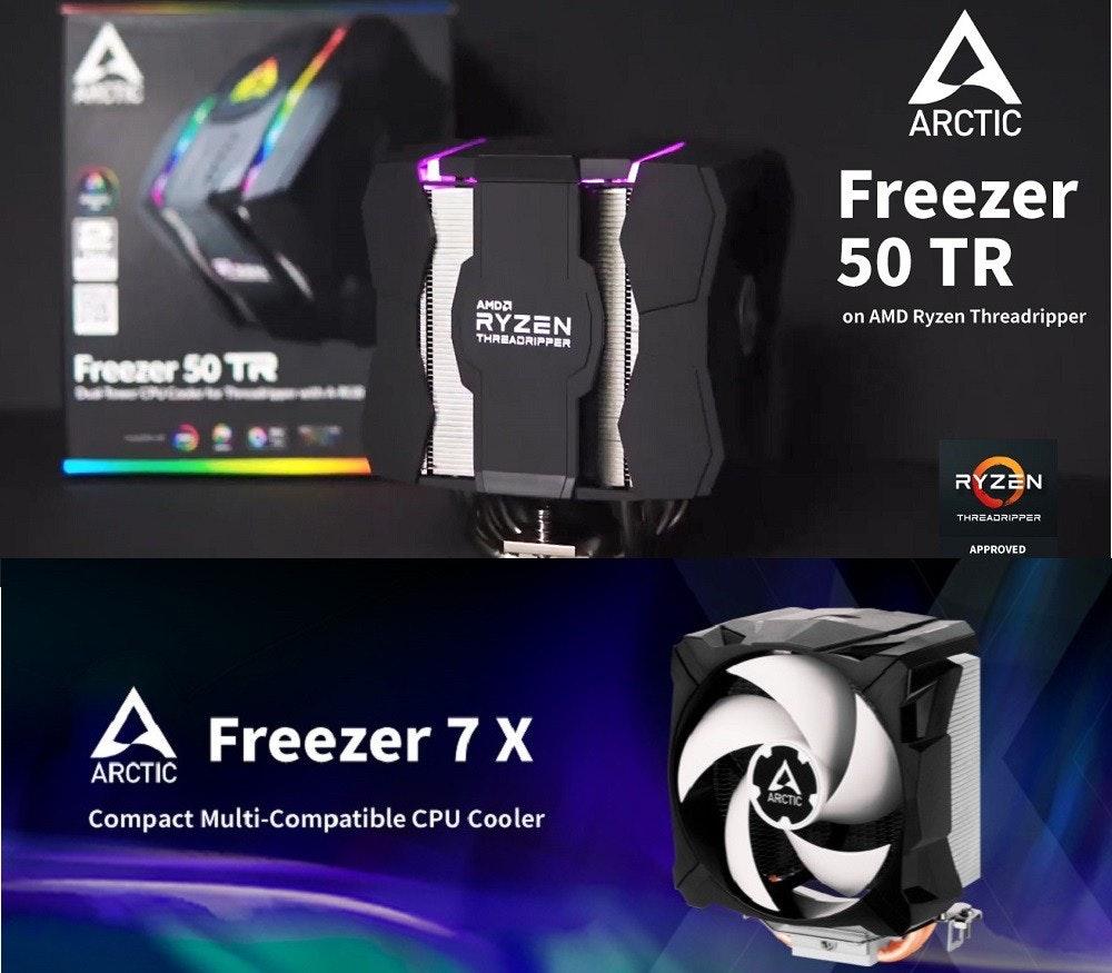 照片中提到了ARCTIC、Freezer、50 TR,跟北極、北極有關,包含了光、電腦散熱、散熱器、電腦硬件、電腦