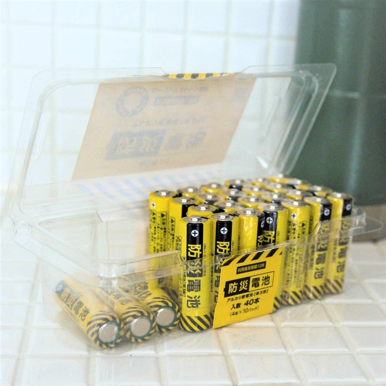 照片中提到了利用推變期限10年、防災電池、アルカリだ電き838),包含了電池、乾電池、鹼性電池、AA電池、應急管理