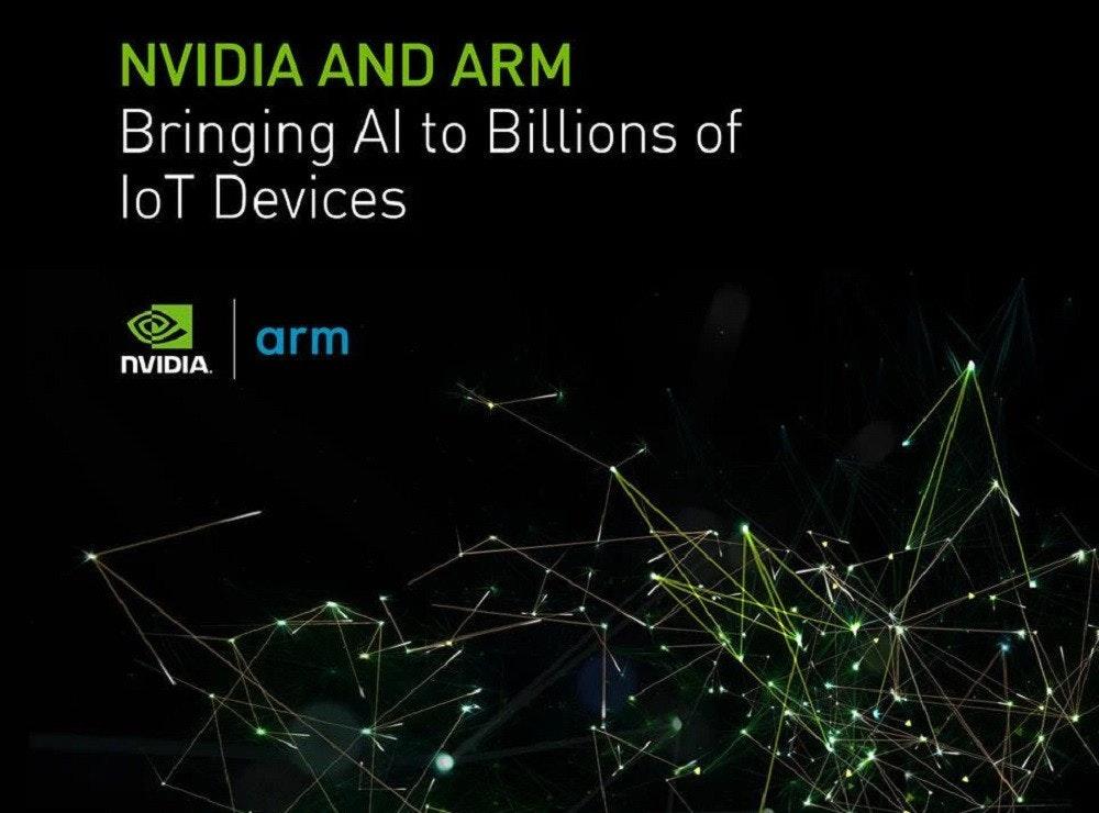 照片中提到了NVIDIA AND ARM、Bringing Al to Billions of、loT Devices,跟英偉達有關,包含了英偉達、極低密度脂蛋白、圖形處理單元、卡達