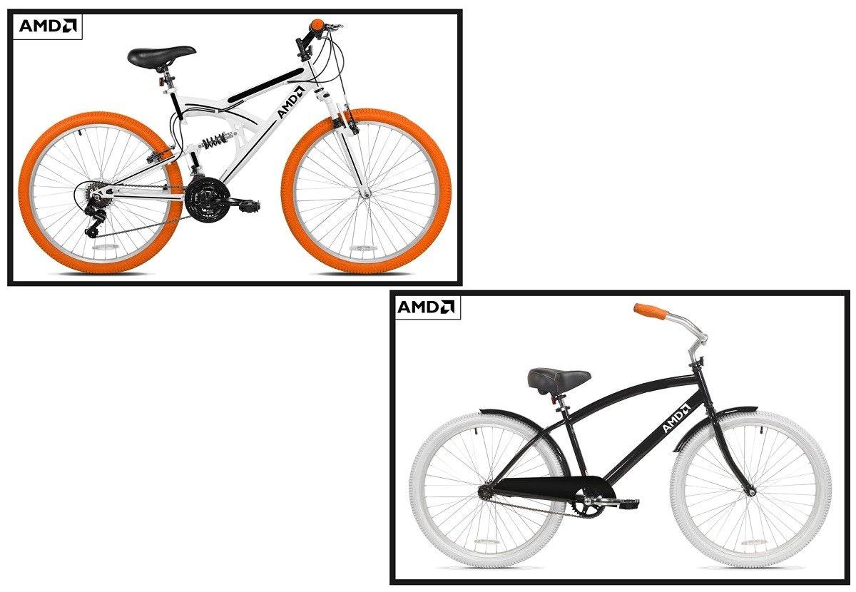 照片中提到了AMDA、AMDA、AMDA,包含了自行車輪、顯卡、Advanced Micro Devices公司、電腦、自行車