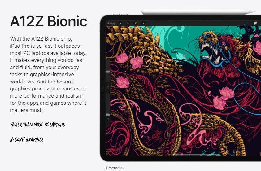 照片中提到了A12Z Bionic、Gallery 7S、With the A12Z Bionic chip,,包含了ioad pro 2020促銷、iPad Pro(12.9英寸)(第二代)、iPad 3、的iPad、蘋果iPad Pro(11)