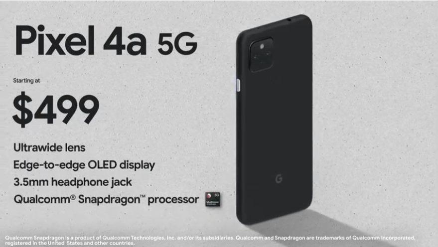 照片中提到了Pixel 4a 5G、Starting at、$499,包含了三星銀河系白色、三星Galaxy S系列、手機、手機配件、產品設計
