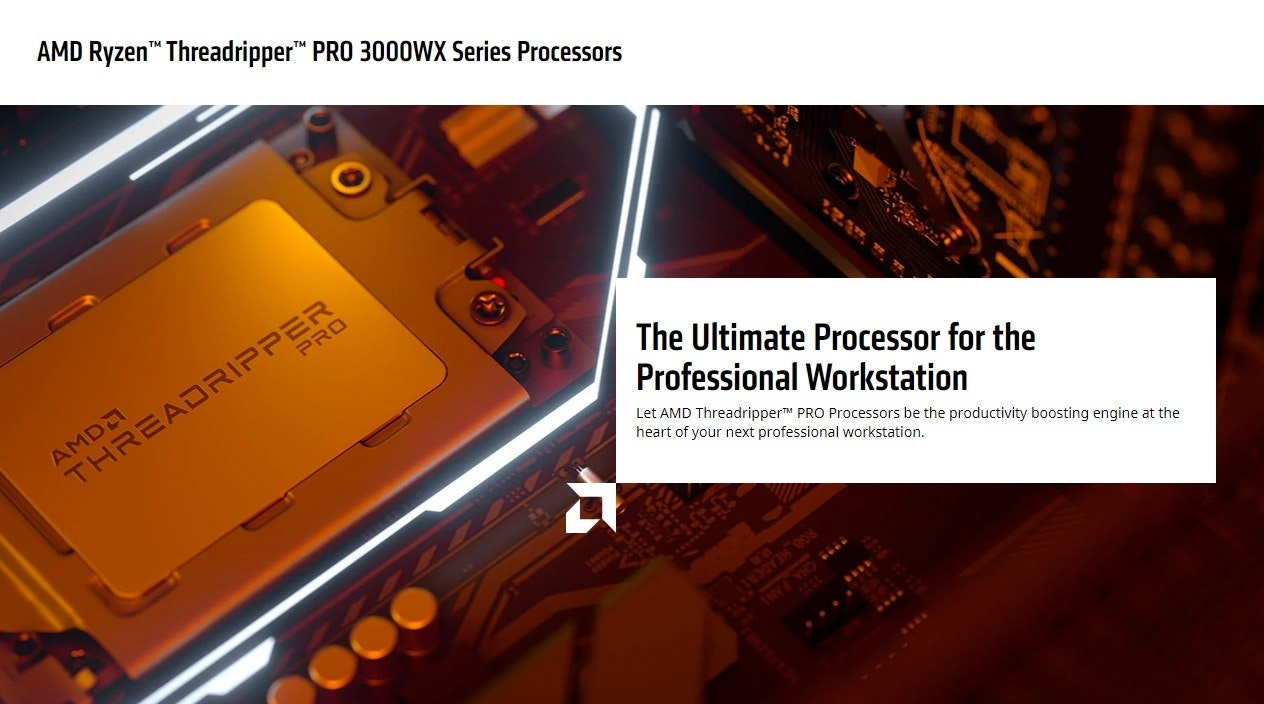 """照片中提到了AMD Ryzen"""" Threadripper"""" PRO 3000WX Series Processors、AMDA、THREADRIPPER,包含了amd threadripper專業版、Advanced Micro Devices公司、中央處理器、多核處理器、AMD銳龍Threadripper 3990X"""