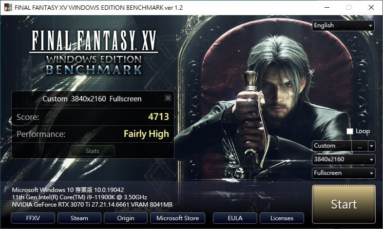 The photo mentioned FINAL FANTASY XV WINDOWS EDITION BENCHMARK ver 1.2, English, FINAL FANTASY.XV, related to Square Enix, including Final Fantasy 15 Steam, Final Fantasy XV, Final Fantasy VII Remake, Noctis Lucis Caelum, Steam