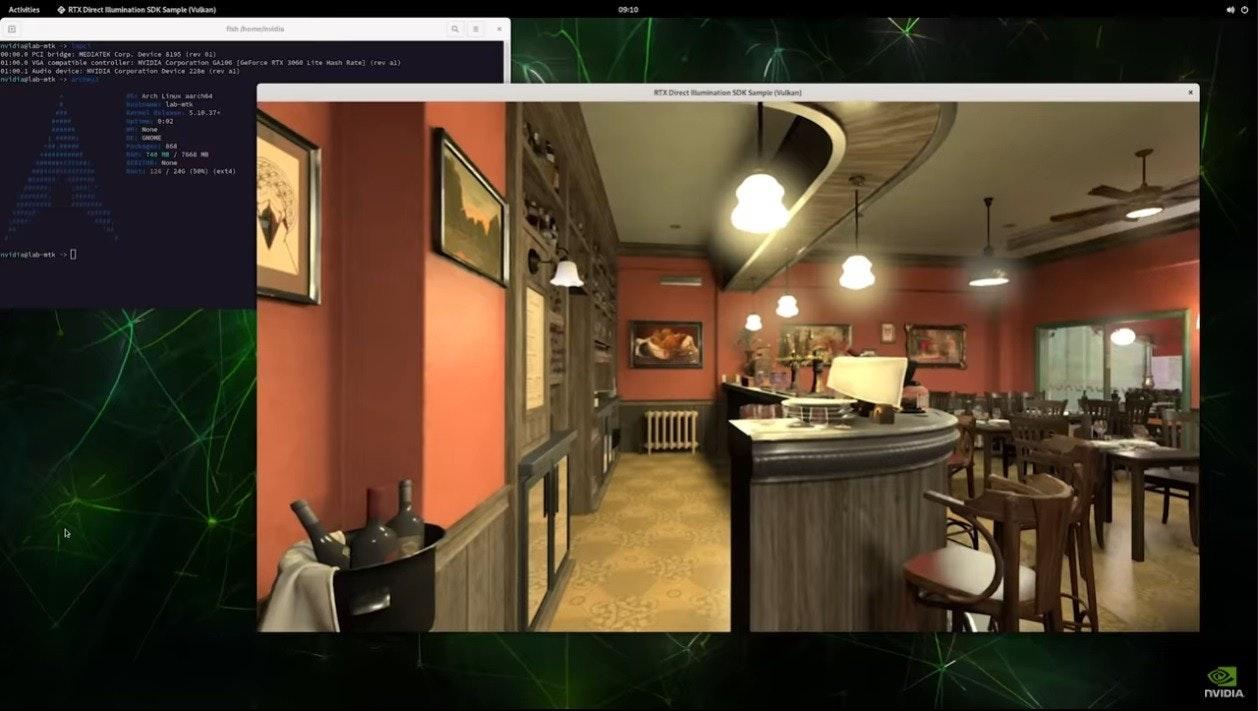 照片中提到了A 37、Actiities、O RTX Direct umination SDK Sample (Van),包含了室內設計、室內設計服務、咖啡店、設計、家具設計師