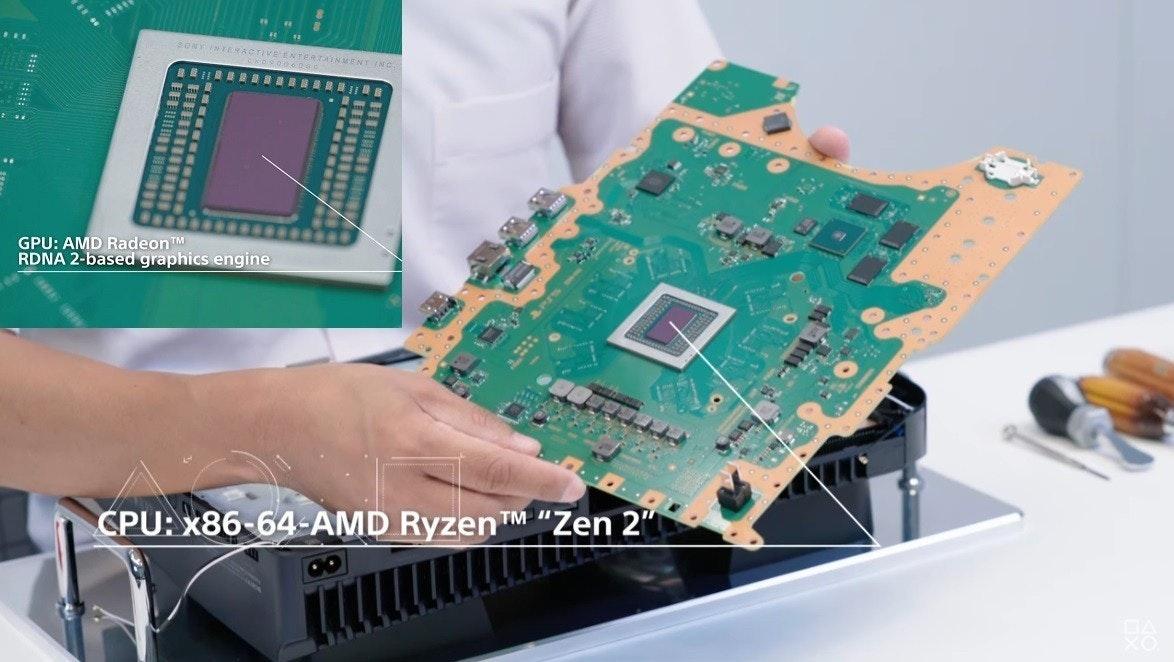 照片中提到了ONY INTERACTIVEE、AINMENT、GPU: AMD RadeonTM,包含了PS5 CPU、索尼PlayStation 5、中央處理器、禪宗2、了索尼