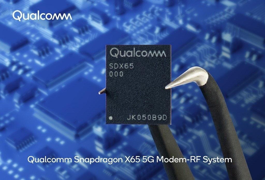 照片中提到了Qualcomm、Qualcomm、SDX65,跟高通公司、高通公司有關,包含了高通 x65 調製解調器、調製解調器、高通金魚草、5G