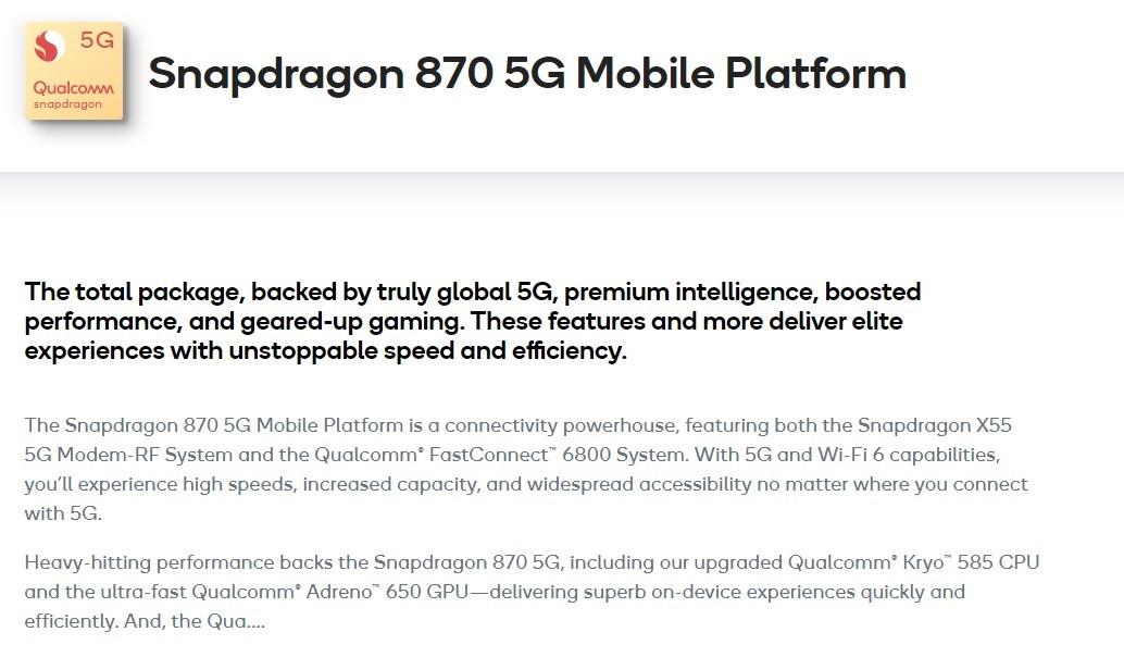 照片中提到了5G、Snapdragon 870 5G Mobile Platform、Qualcowm,跟高通公司有關,包含了文獻、文獻、連續性教育、知識、知識
