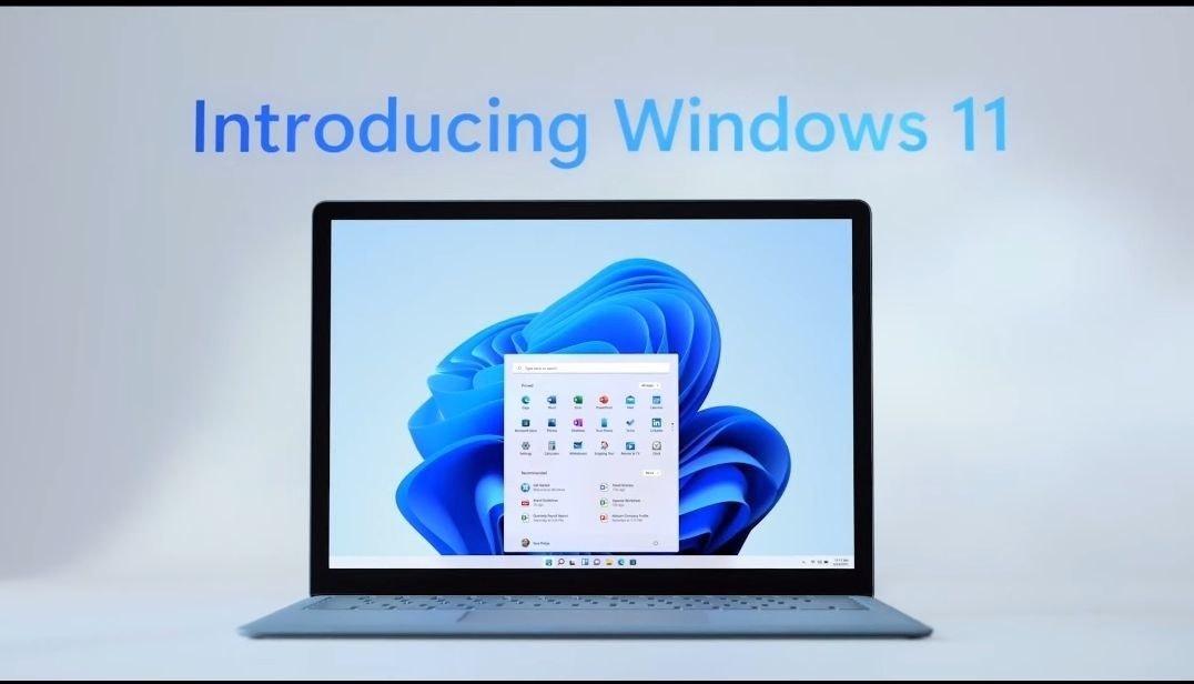 照片中提到了Introducing Windows 11,包含了窗口 11、窗口 11、微軟公司、微軟Windows、開始菜單