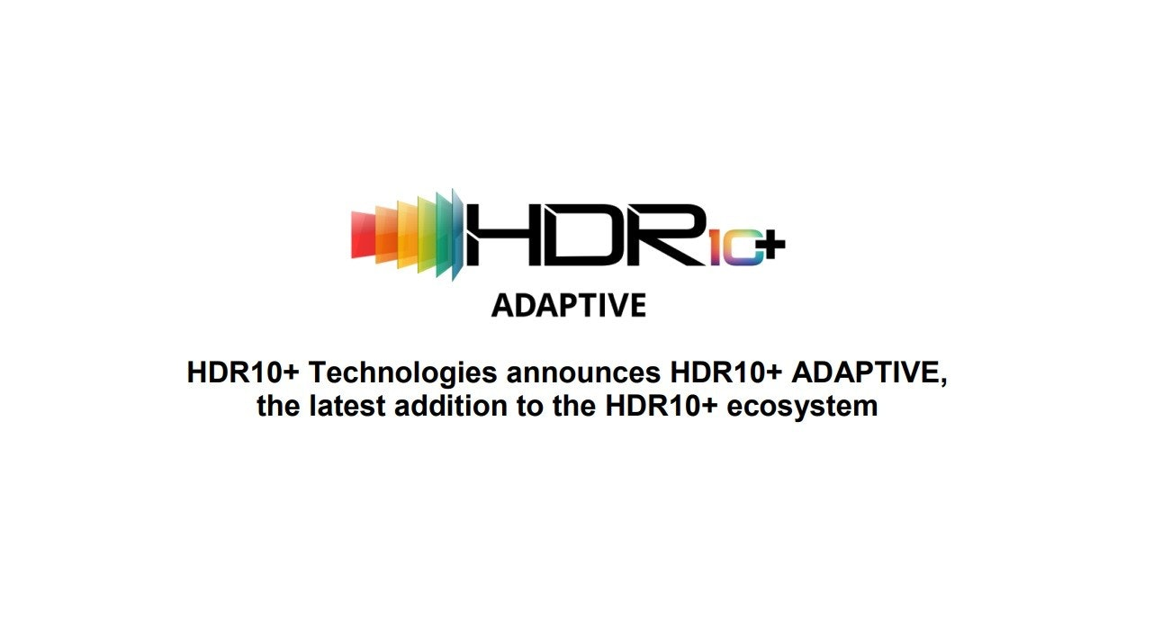照片中提到了HDRIG+、ADAPTIVE、HDR10+ Technologies announces HDR10+ ADAPTIVE,,包含了圖形、商標、字形、牌、產品設計